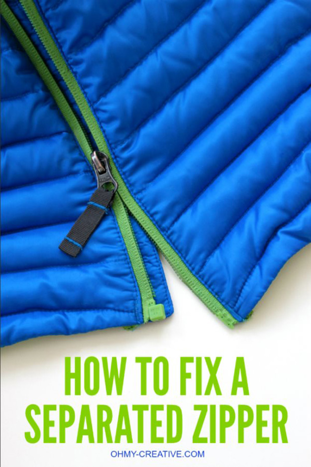 DIY Hacks for Ruined Clothes. Awesome Ideas, Tips and Tricks for Repairing Clothes and Removing Stains in Clothing | How To Fix A Separated Zipper | http://diyjoy.com/diy-hacks-for-fixing-ruined-clothes