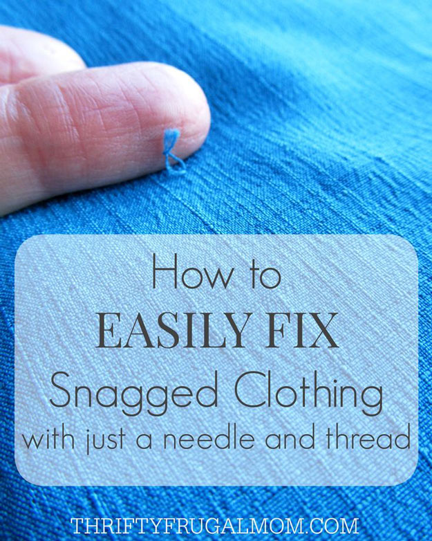 DIY Hacks for Ruined Clothes. Awesome Ideas, Tips and Tricks for Repairing Clothes and Removing Stains in Clothing | How to Easily Fix Snagged Clothing | http://diyjoy.com/diy-hacks-for-fixing-ruined-clothes