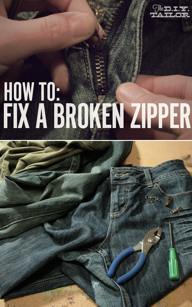 DIY Hacks for Ruined Clothes. Awesome Ideas, Tips and Tricks for Repairing Clothes and Removing Stains in Clothing   How to Fix a Broken Zipper