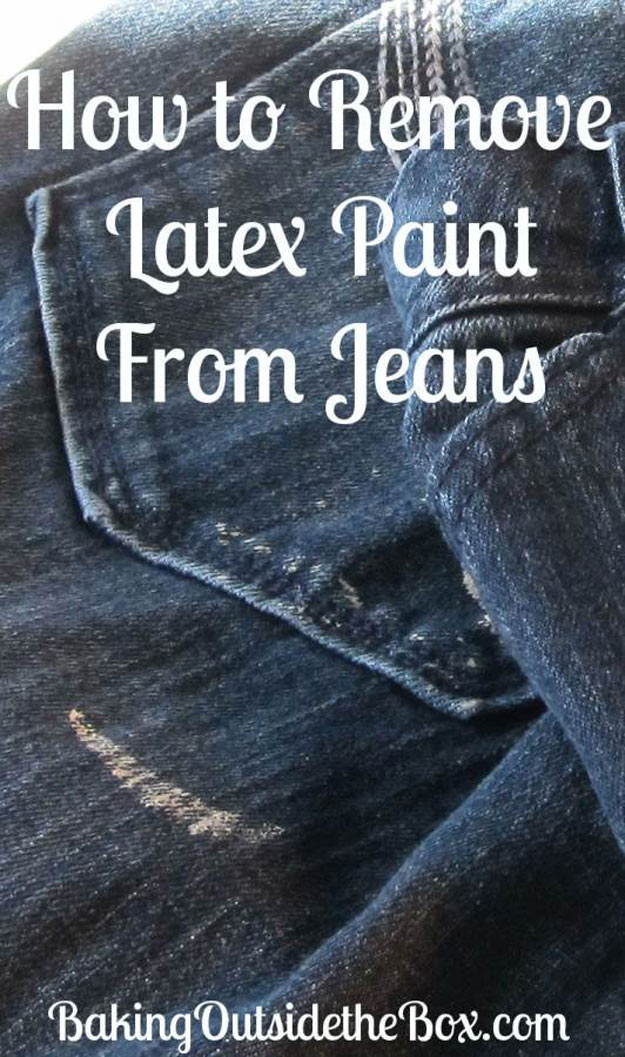 DIY Hacks for Ruined Clothes. Awesome Ideas, Tips and Tricks for Repairing Clothes and Removing Stains in Clothing | How to Remove Latex Paint From Jeans | http://diyjoy.com/diy-hacks-for-fixing-ruined-clothes
