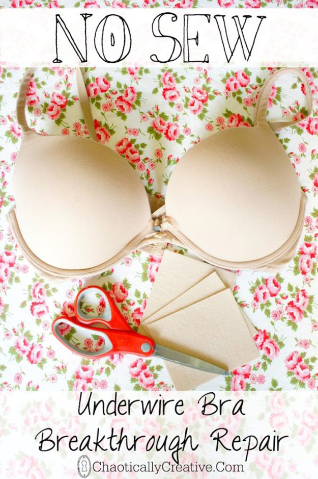 DIY Hacks for Ruined Clothes. Awesome Ideas, Tips and Tricks for Repairing Clothes and Removing Stains in Clothing   How to Repair An Underwire Bra