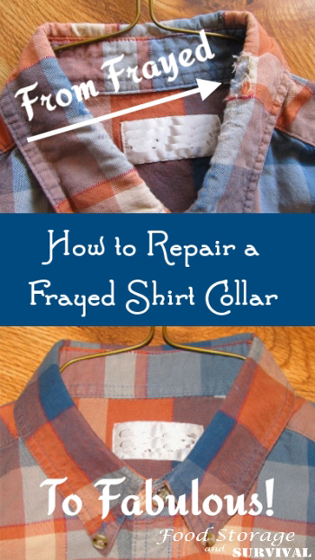 DIY Hacks for Ruined Clothes. Awesome Ideas, Tips and Tricks for Repairing Clothes and Removing Stains in Clothing | How to Repair a Frayed Shirt Collar | http://diyjoy.com/diy-hacks-for-fixing-ruined-clothes