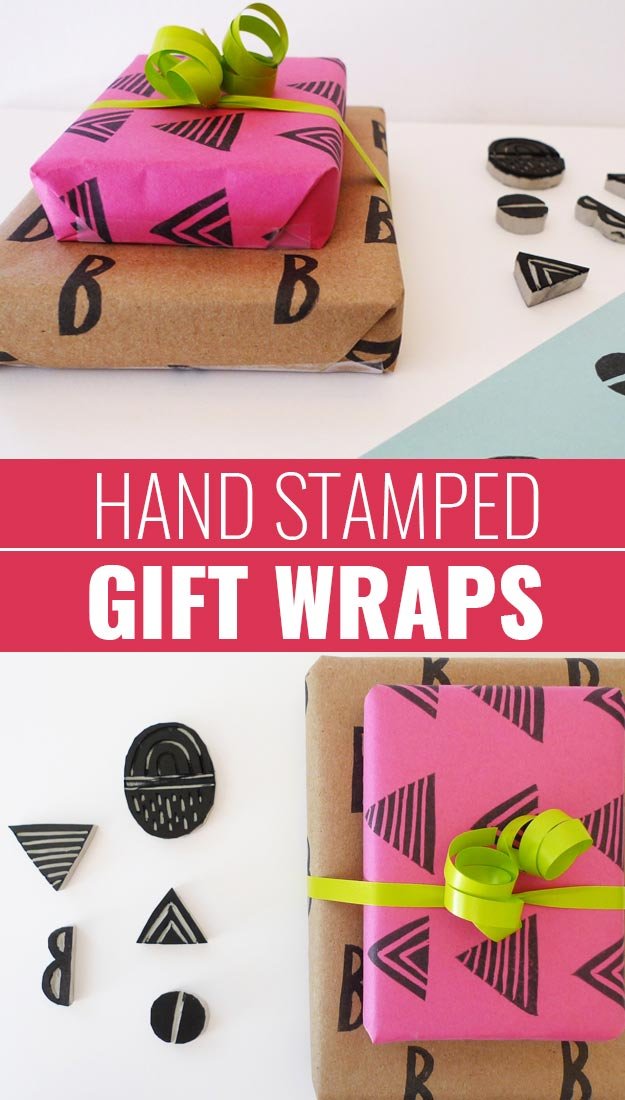 DIY Gift Wrapping Ideas - How To Wrap A Present - Tutorials, Cool Ideas and Instructions | Cute Gift Wrap Ideas for Christmas, Birthdays and Holidays | Tips for Bows and Creative Wrapping Papers | Linoleum-Hand-Stamped-Gift-Wraps #gifts #diys
