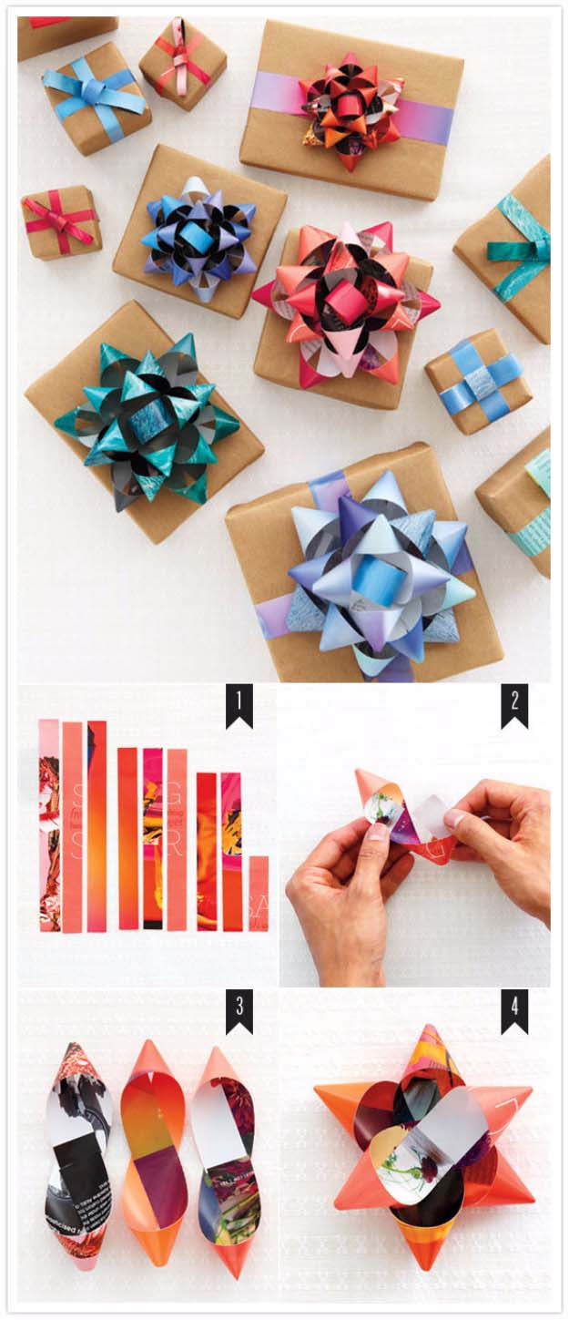 DIY Gift Wrapping Ideas - How To Wrap A Present - Tutorials, Cool Ideas and Instructions | Cute Gift Wrap Ideas for Christmas, Birthdays and Holidays | Tips for Bows and Creative Wrapping Papers | Magazine RIbbon Gift Bows #gifts #diys