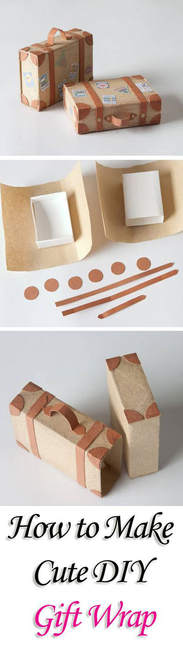 DIY Gift Wrapping Ideas - How To Wrap A Present - Tutorials, Cool Ideas and Instructions | Cute Gift Wrap Ideas for Christmas, Birthdays and Holidays | Tips for Bows and Creative Wrapping Papers | Matchbox-Suitcase-Gift-Wrap| http://diyjoy.com/how-to-wrap-a-gift-wrapping-ideas