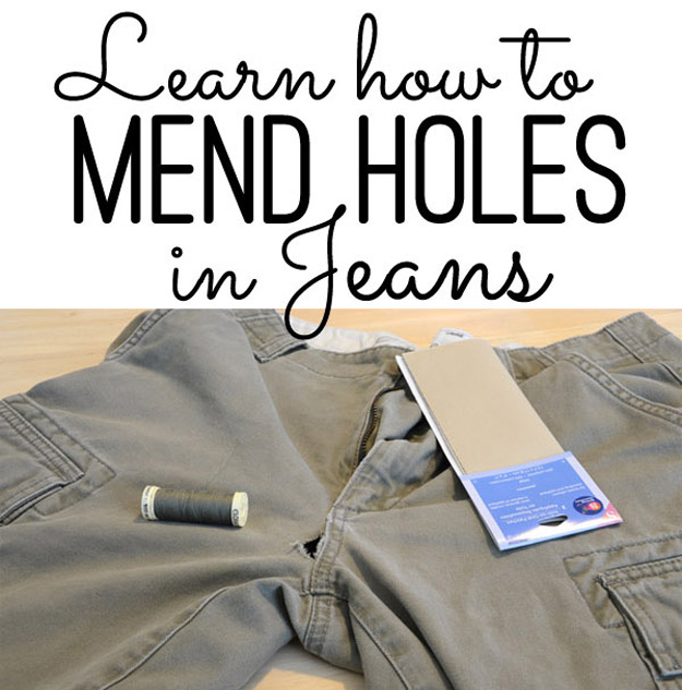 DIY Hacks for Ruined Clothes. Awesome Ideas, Tips and Tricks for Repairing Clothes and Removing Stains in Clothing | Mending Holes in Jeans | http://diyjoy.com/diy-hacks-for-fixing-ruined-clothes