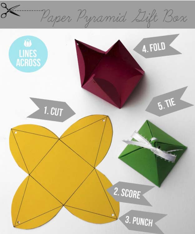DIY Gift Wrapping Ideas - How To Wrap A Present - Tutorials, Cool Ideas and Instructions | Cute Gift Wrap Ideas for Christmas, Birthdays and Holidays | Tips for Bows and Creative Wrapping Papers | Origami Paper Pyramid Gift Boxes #gifts #diys