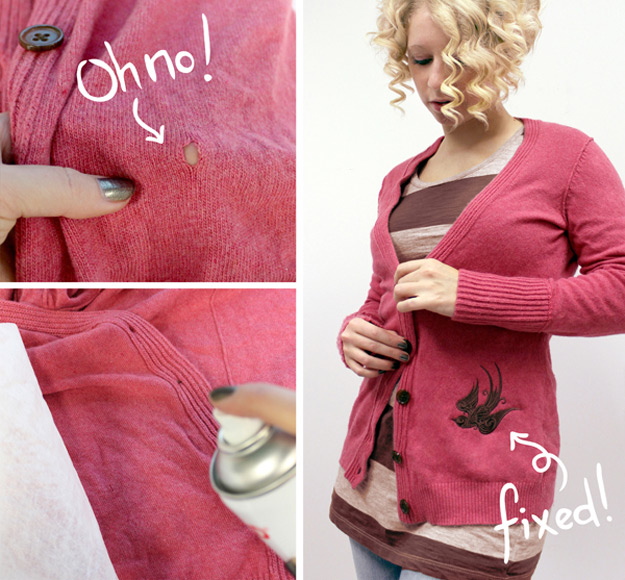 DIY Hacks for Ruined Clothes. Awesome Ideas, Tips and Tricks for Repairing Clothes and Removing Stains in Clothing | Patching with Embroidery | http://diyjoy.com/diy-hacks-for-fixing-ruined-clothes