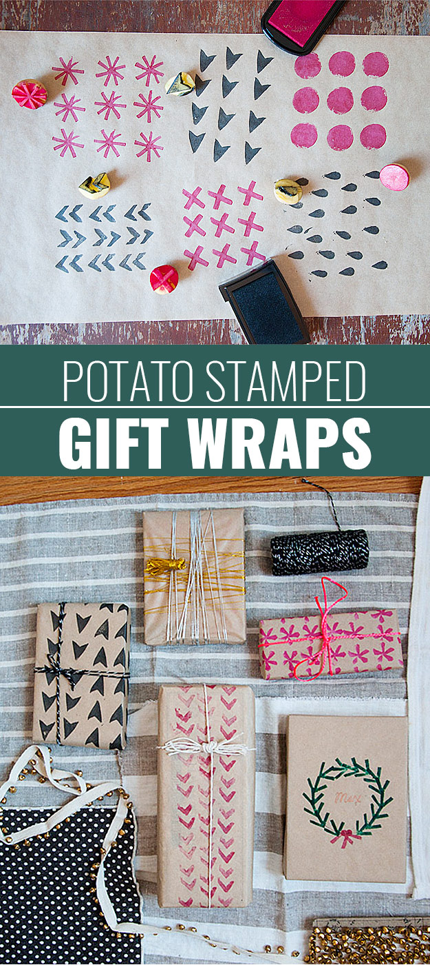 DIY Gift Wrapping Ideas - How To Wrap A Present - Tutorials, Cool Ideas and Instructions | Cute Gift Wrap Ideas for Christmas, Birthdays and Holidays | Tips for Bows and Creative Wrapping Papers | Potato-Stamp-Gift-Wrap #gifts #diys