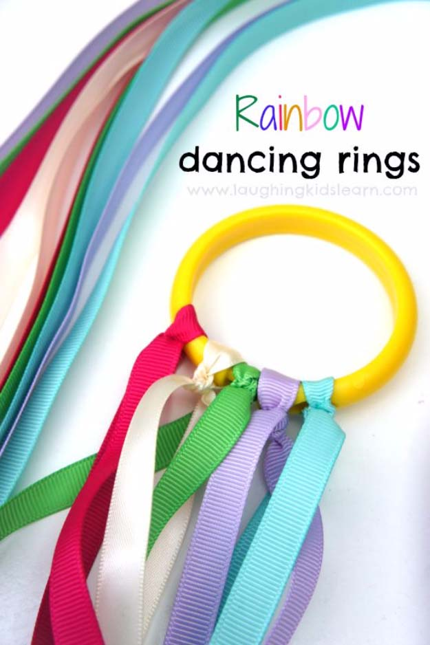 DIY Christmas Gifts for Kids - Homemade Christmas Presents for Children and Christmas Crafts for Kids   Toys, Dress Up Clothes, Dolls and Fun Games   Step by Step tutorials and instructions for cool gifts to make for boys and girls   Rainbow Dancing Ribbon Rings