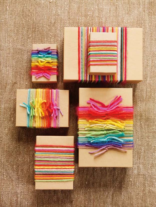 DIY Gift Wrapping Ideas - How To Wrap A Present - Tutorials, Cool Ideas and Instructions | Cute Gift Wrap Ideas for Christmas, Birthdays and Holidays | Tips for Bows and Creative Wrapping Papers | Rainbow Yarn Wrappings #gifts #diys