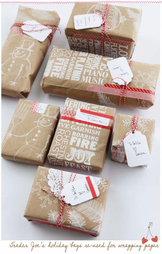 DIY Gift Wrapping Ideas - How To Wrap A Present - Tutorials, Cool Ideas and Instructions | Cute Gift Wrap Ideas for Christmas, Birthdays and Holidays | Tips for Bows and Creative Wrapping Papers | Re Used Paper Bags from the Grocery Store #gifts #diys