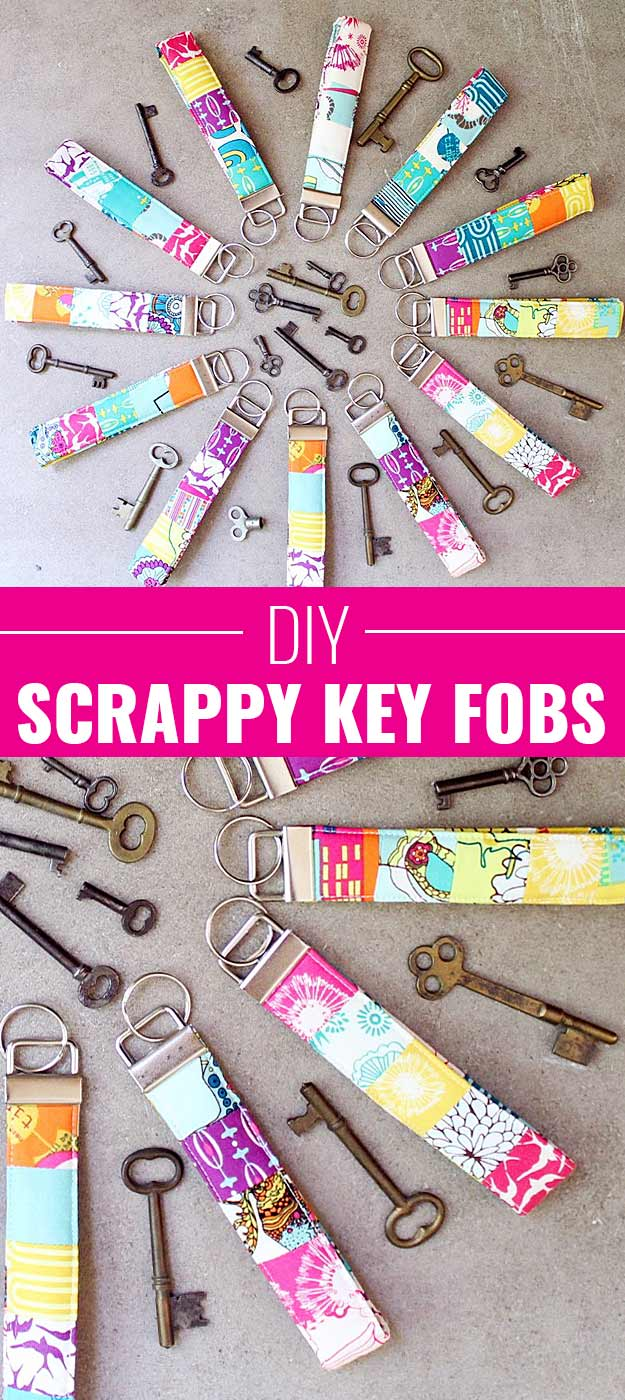 Fun Homemade Gifts for Friends | Cute DIY Stocking Stuffers for Christmas | Easy DIY Crafts Ideas | Scrappy Key Fobs #diy #diychristmas