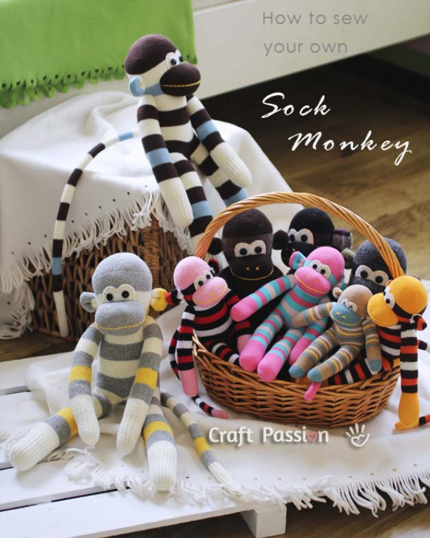 DIY Christmas Gifts for Kids - Homemade Christmas Presents for Children and Christmas Crafts for Kids   Toys, Dress Up Clothes, Dolls and Fun Games   Step by Step tutorials and instructions for cool gifts to make for boys and girls   Sock Monkey