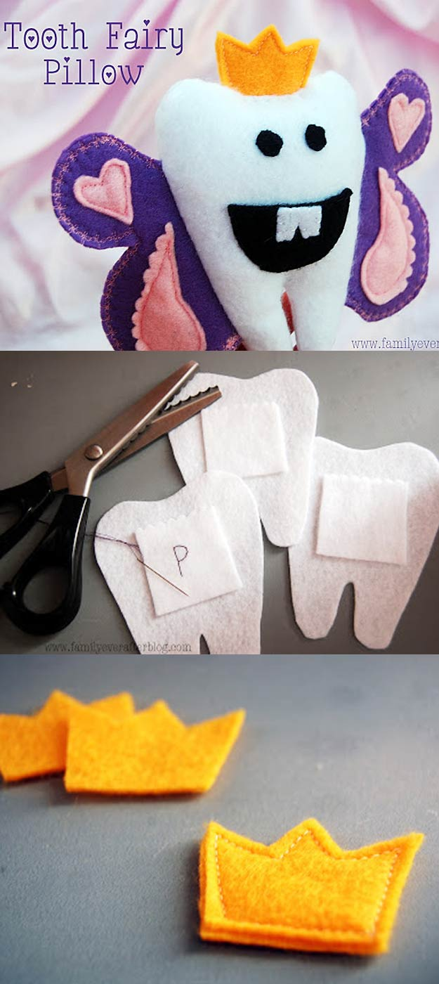 DIY Christmas Gifts for Kids - Homemade Christmas Presents for Children and Christmas Crafts for Kids   Toys, Dress Up Clothes, Dolls and Fun Games   Step by Step tutorials and instructions for cool gifts to make for boys and girls   Tooth-Fairy-Pillow