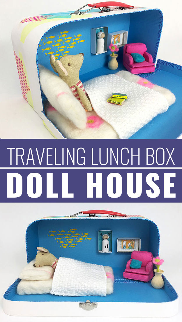 DIY Christmas Gifts for Kids - Homemade Christmas Presents for Children and Christmas Crafts for Kids   Toys, Dress Up Clothes, Dolls and Fun Games   Step by Step tutorials and instructions for cool gifts to make for boys and girls   Travelling-Lunch-Box-Doll-House