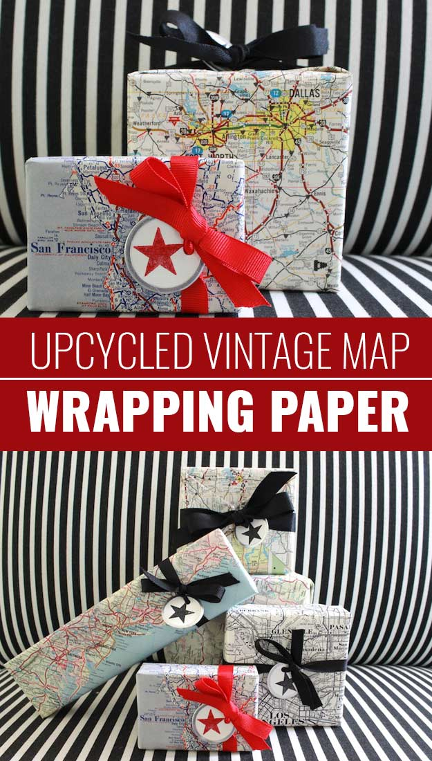 DIY Gift Wrapping Ideas - How To Wrap A Present - Tutorials, Cool Ideas and Instructions | Cute Gift Wrap Ideas for Christmas, Birthdays and Holidays | Tips for Bows and Creative Wrapping Papers | Vintage-Map-Wrapping-Paper #gifts #diys