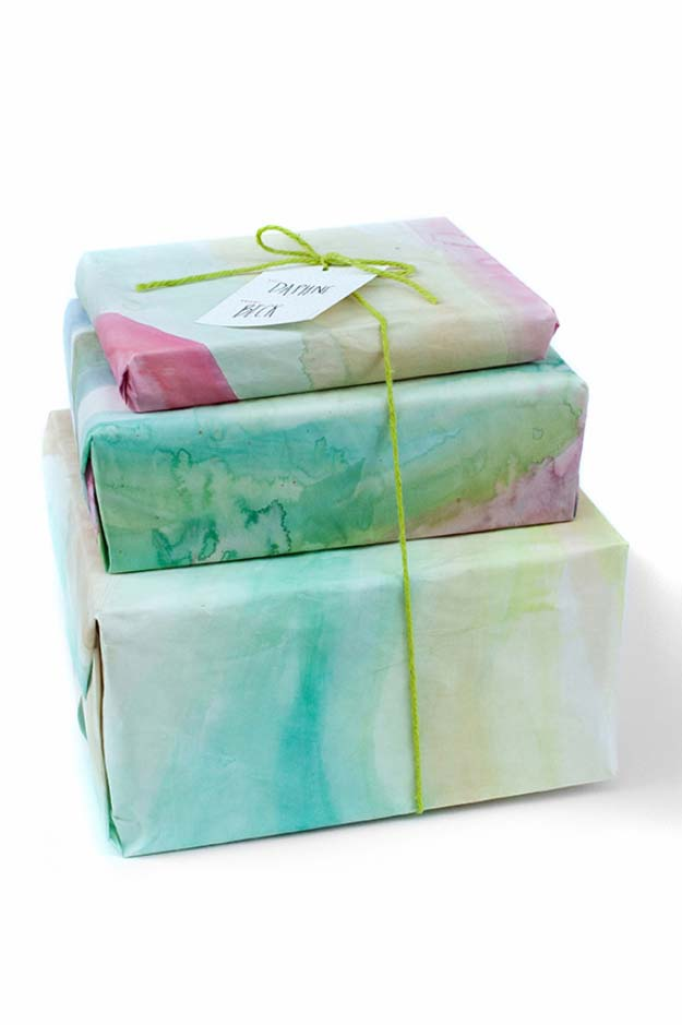 DIY Gift Wrapping Ideas - How To Wrap A Present - Tutorials, Cool Ideas and Instructions | Cute Gift Wrap Ideas for Christmas, Birthdays and Holidays | Tips for Bows and Creative Wrapping Papers | Water Color Gift Wrap #gifts #diys