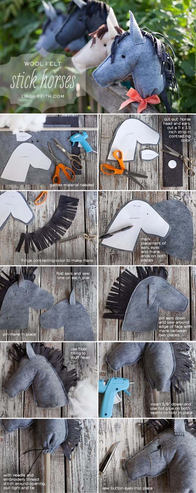 DIY Christmas Gifts for Kids - Homemade Christmas Presents for Children and Christmas Crafts for Kids   Toys, Dress Up Clothes, Dolls and Fun Games   Step by Step tutorials and instructions for cool gifts to make for boys and girls   Wool felt Stick Horses