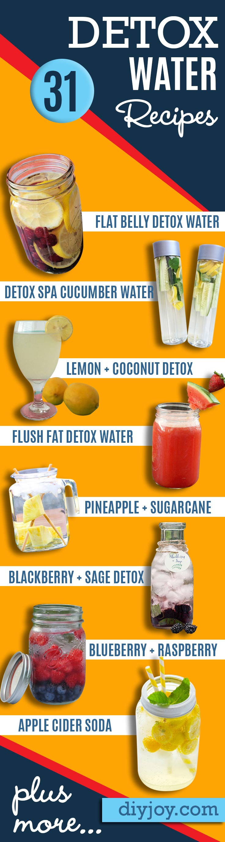 Detox Water Recipes for Drinks To Cleanse Skin and Body. Easy to Make Waters and Tea Promote Health, Diet and Support Weight loss | Detox Ideas to Lose Weight and Remove Toxins #detox #dietrecipes #healthy