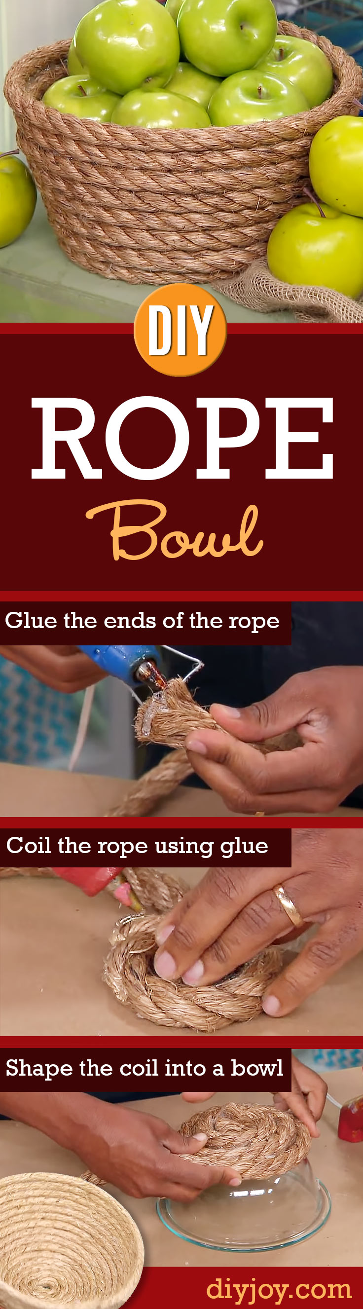 DIY Storage Ideas - DIY Rope Bowls - Home Decor and Organizing Projects for The Bedroom, Bathroom, Living Room, Panty and Storage Projects - Tutorials and Step by Step Instructions for Do It Yourself Organization http://diyjoy.com/diy-storage-ideas-organization