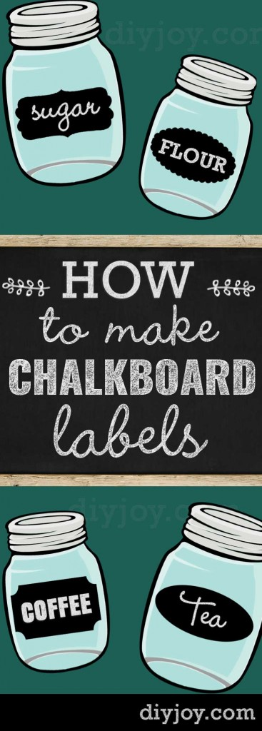 Chalk Paint Ideas - How To Make Chalkboard Labels for Mason Jars and Other Home Decor Projects. Make Cute Chalk Labels for Your Stuff!  http://diyjoy.com/how-to-make-chalkboard-labels-mason-jars