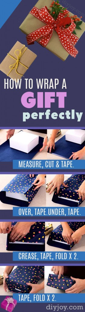 How To Wrap A Gift - DIY Gift Wrap Tutorial - Step by Step Instructions for Perfect Gift Wrapping. Christmas and Birthday Present Paper Tips http://diyjoy.com/how-to-wrap-a-gift-tutorial