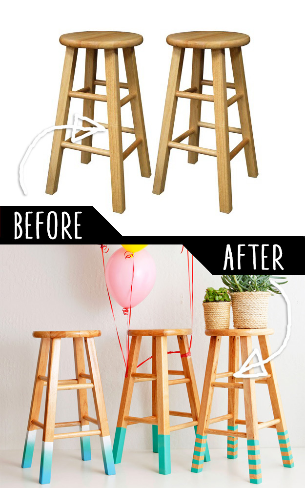 DIY Furniture Makeovers - Refurbished Furniture and Cool Painted Furniture Ideas for Thrift Store Furniture Makeover Projects | Coffee Tables, Dressers and Bedroom Decor, Kitchen | 3 Ways to Make Color-Dipped Bar Stools #diy #furnituremakeover #diyfurniture