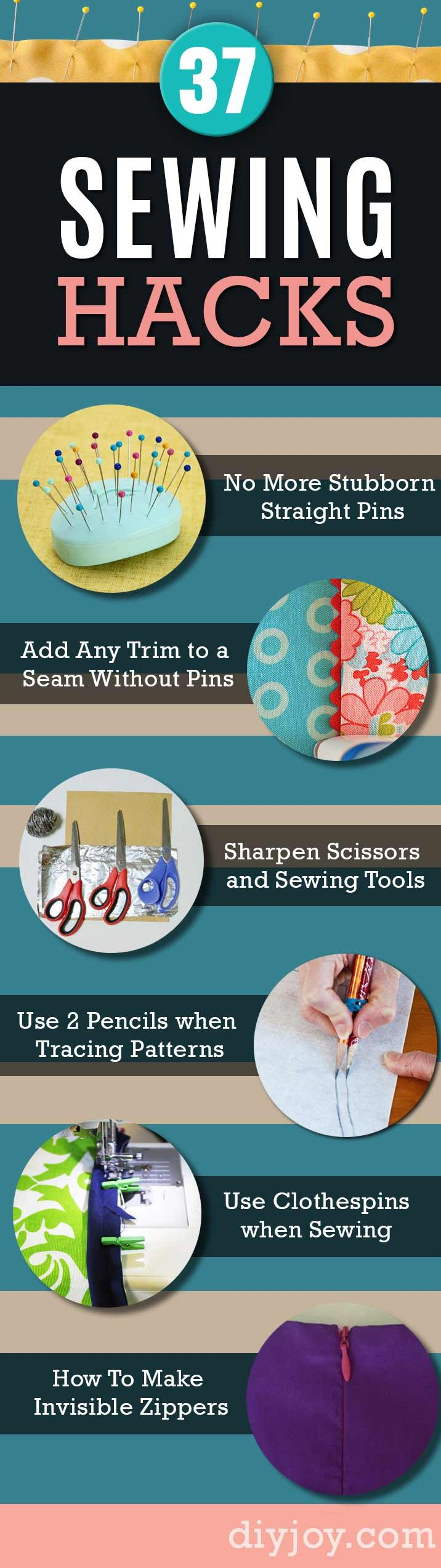Sewing Hacks | Best Tips and Tricks for Sewing Patterns, Projects, Machines, Hand Sewn Items. Clever Ideas for Beginners and Even Experts | Use Mini Clothespins when Sewing Bindings and Piping |