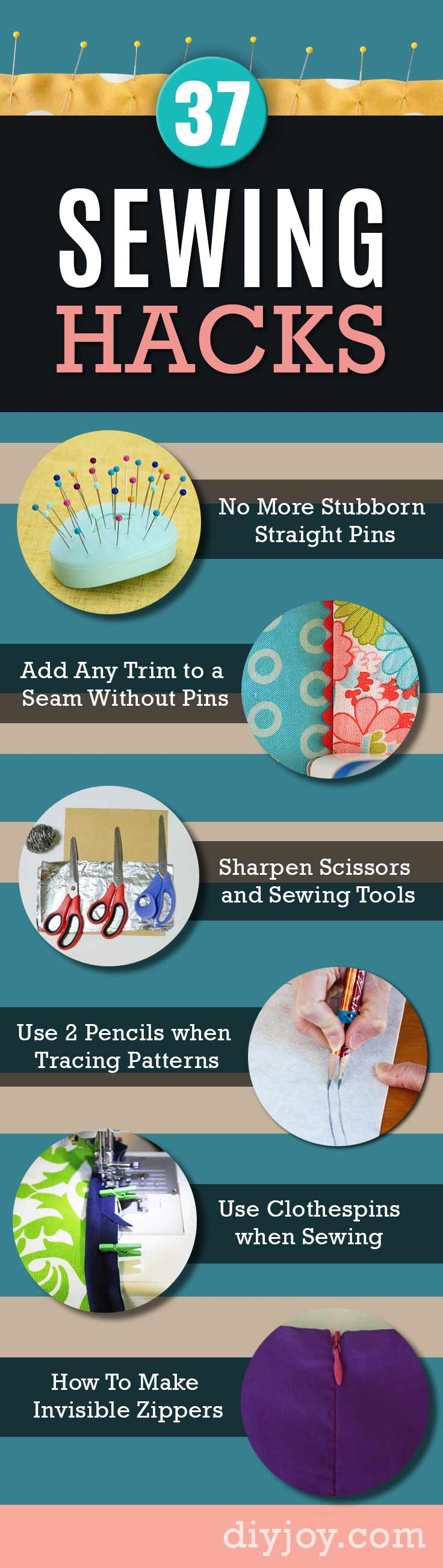 Sewing Hacks | Best Tips and Tricks for Sewing Patterns, Projects, Machines, Hand Sewn Items. Clever Ideas for Beginners and Even Experts