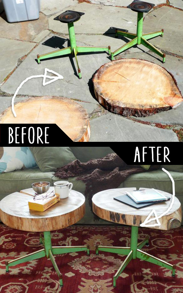 DIY Furniture Hacks   Accent Tables Using Rough Cut Logs and Old Metal Chair Legs   Cool Ideas for Creative Do It Yourself Furniture Made From Things You Might Not Expect