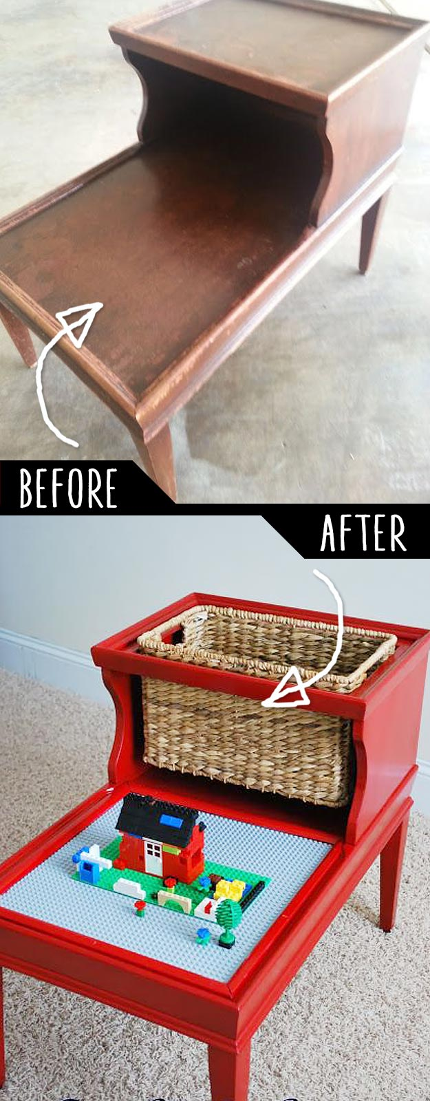 DIY Furniture Hacks   An Old Table into Kids Lego Table   Cool Ideas for Creative Do It Yourself Furniture Made From Things You Might Not Expect #diy