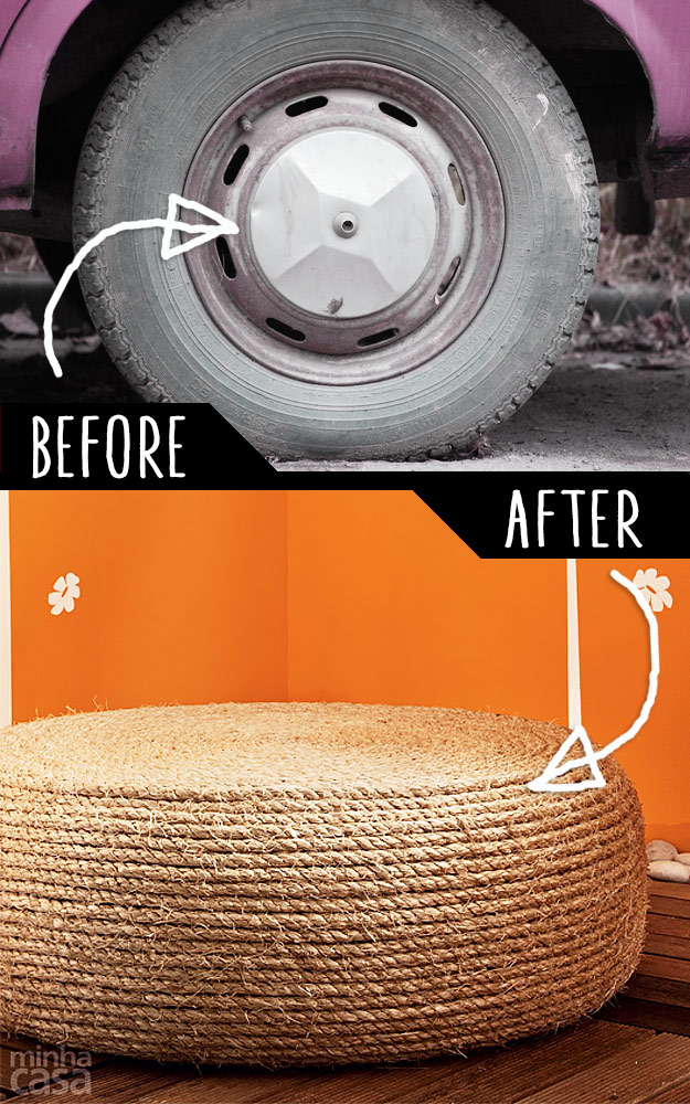 DIY Furniture Hacks | An Old Tire into a Rope Ottoman | Cool Ideas for Creative Do It Yourself Furniture | Cheap Home Decor Ideas for Bedroom, Bathroom, Living Room, Kitchen - http://diyjoy.com/diy-furniture-hacks