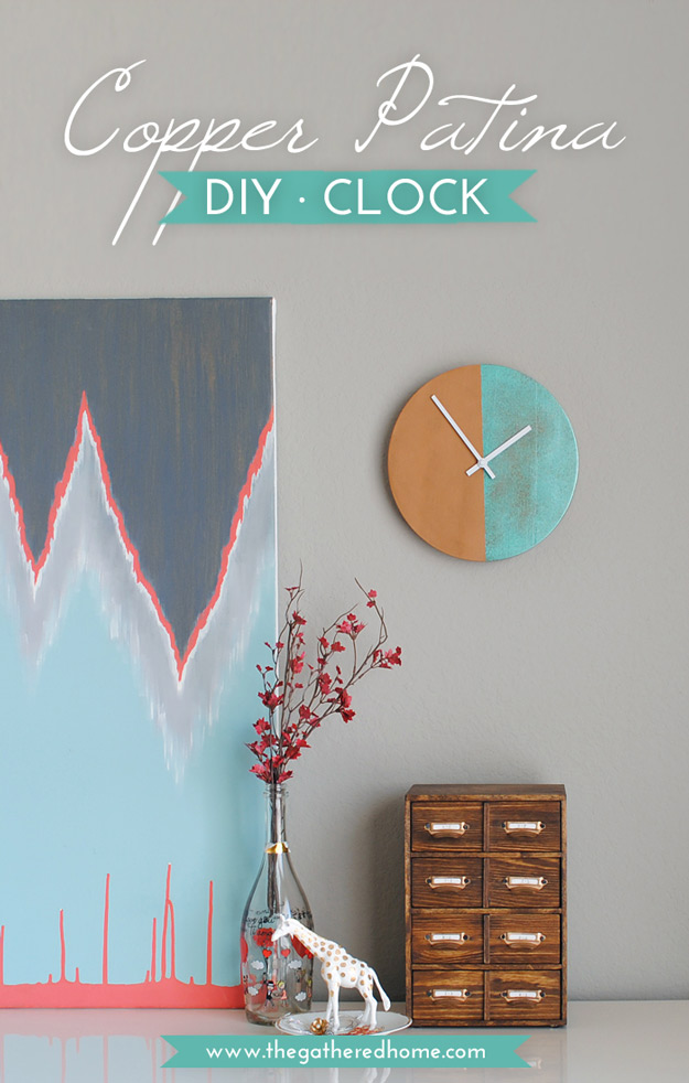 DIY Furniture Store KnockOffs - Do It Yourself Furniture Projects Inspired by Pottery Barn, Restoration Hardware, West Elm. Tutorials and Step by Step Instructions | Anthopologie Knock Off DIY Copper Patina Clock #diyfurniture #diyhomedecor #copycats