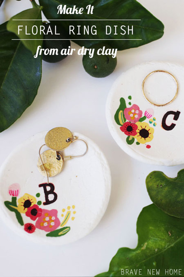 DIY Furniture Store KnockOffs - Do It Yourself Furniture Projects Inspired by Pottery Barn, Restoration Hardware, West Elm. Tutorials and Step by Step Instructions | Anthropologie Inspired Hand Painted Floral Ring Dish #diyfurniture #diyhomedecor #copycats