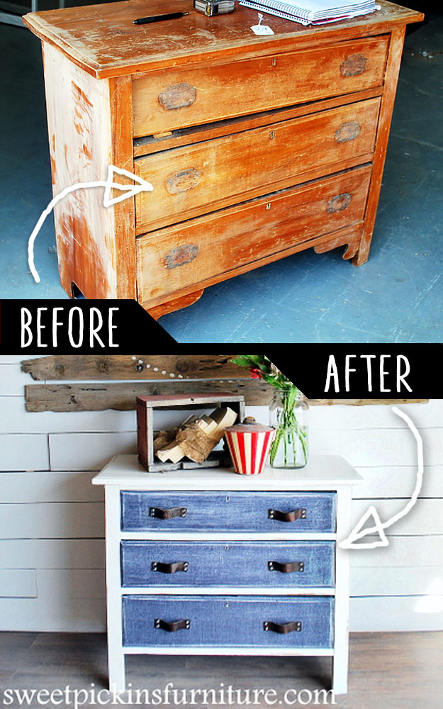 DIY Furniture Makeovers - Refurbished Furniture and Cool Painted Furniture Ideas for Thrift Store Furniture Makeover Projects | Coffee Tables, Dressers and Bedroom Decor, Kitchen | Antique Dresser with Denim Treatment #diy #furnituremakeover #diyfurniture