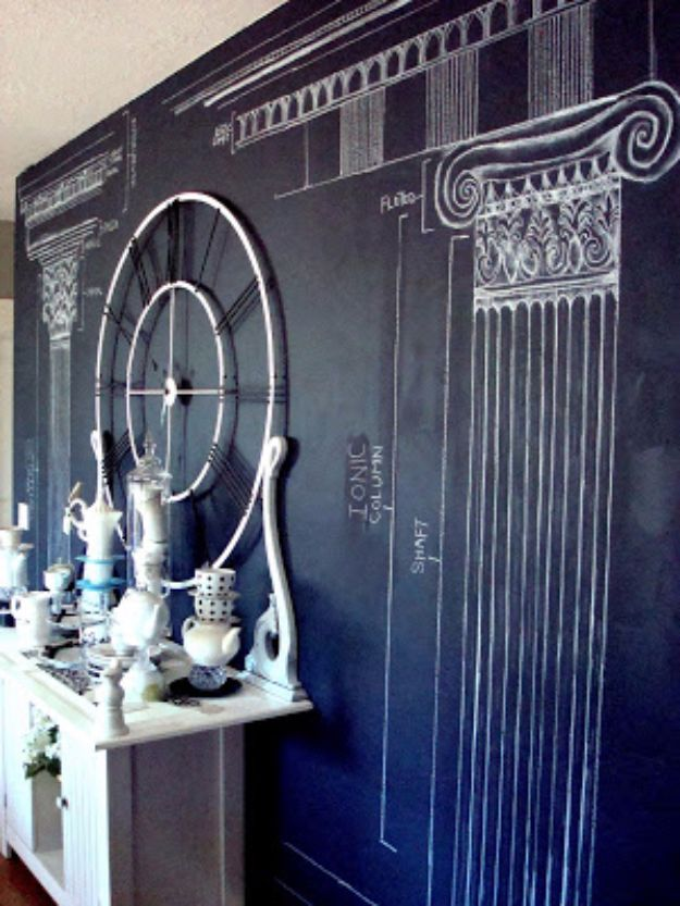 DIY Chalkboard Paint Ideas for Furniture Projects, Home Decor, Kitchen, Bedroom, Signs and Crafts for Teens. | Architectural Motif Wall Art | http://diyjoy.com/diy-chalkboard-paint-ideas