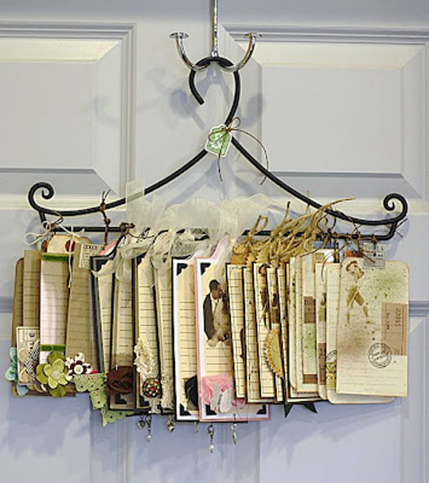 DIY Craft Room Ideas and Craft Room Organization Projects - Art Tag Hanger Organizer - Cool Ideas for Do It Yourself Craft Storage - fabric, paper, pens, creative tools, crafts supplies and sewing notions