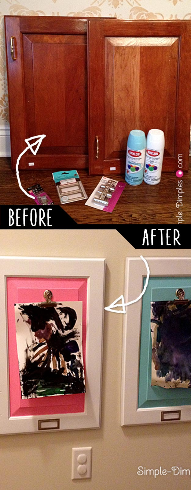 DIY Furniture Hacks   Artwork Display for Children using Cabinet Doors   Cool Ideas for Creative Do It Yourself Furniture Made From Things You Might Not Expect #diy