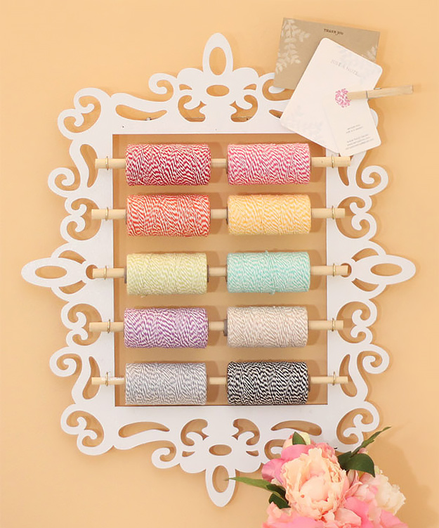 DIY Craft Room Ideas and Craft Room Organization Projects - Bakers Twine Organizer - Cool Ideas for Do It Yourself Craft Storage - fabric, paper, pens, creative tools, crafts supplies and sewing notions
