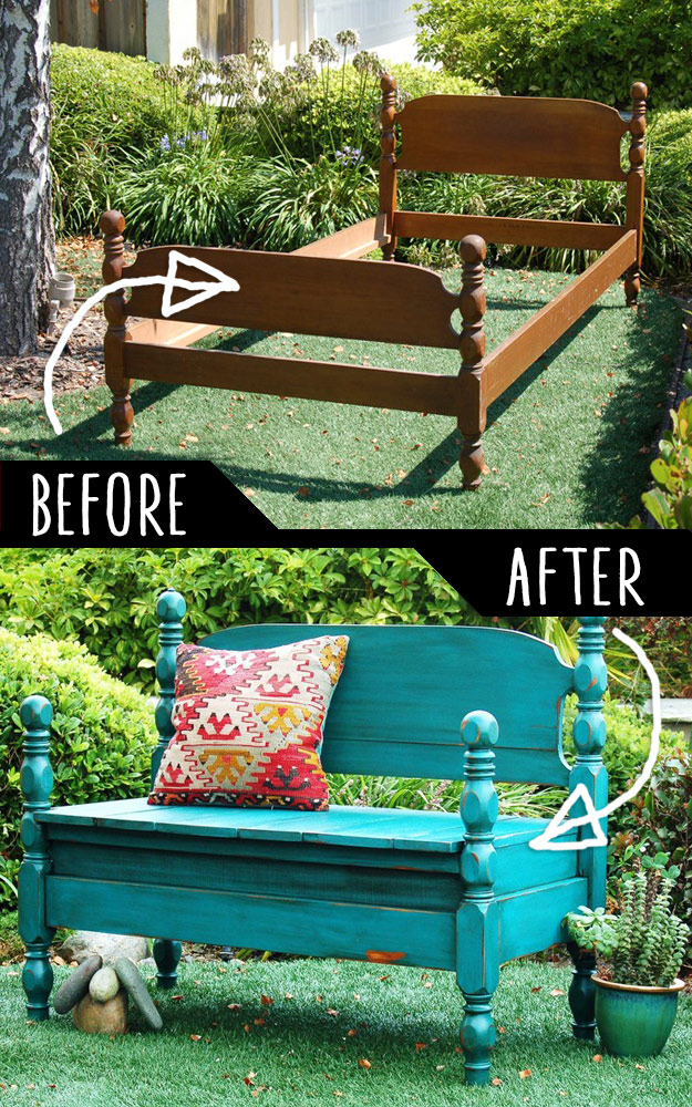 DIY Furniture Hacks   Bed Turned Into Bench   Cool Ideas for Creative Do It Yourself Furniture   Cheap Home Decor Ideas for Bedroom, Bathroom, Living Room, Kitchen #diy