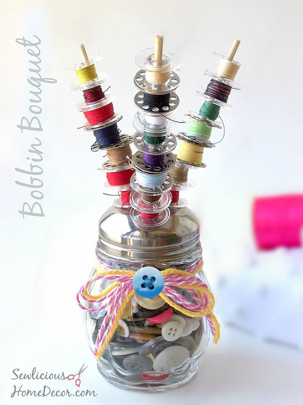 DIY Craft Room Ideas and Craft Room Organization Projects - Bobbin Bouquet - Cool Ideas for Do It Yourself Craft Storage - fabric, paper, pens, creative tools, crafts supplies and sewing notions