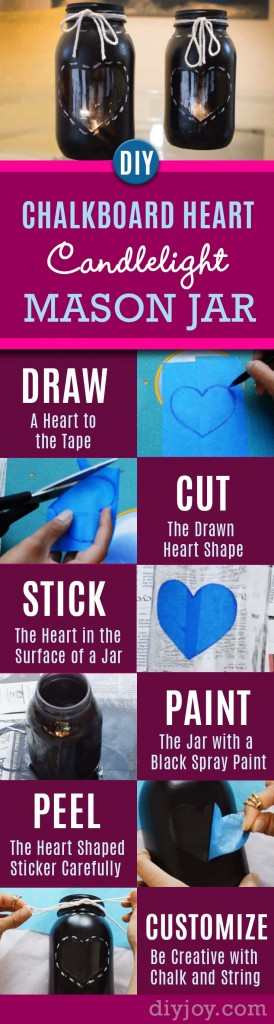 76 Crafts To Make and Sell - Easy DIY Ideas for Cheap Things To Sell on Etsy, Online and for Craft Fairs. Make Money with These Homemade Crafts for Teens, Kids, Christmas, Summer, Mother's Day Gifts. | Chalkboard Heart Candlelight Mason Jar #crafts #diy