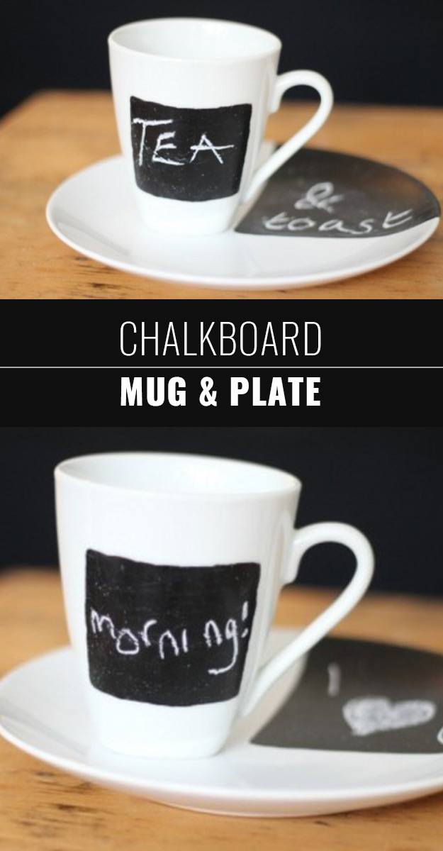 DIY Chalkboard Paint Ideas for Furniture Projects, Home Decor, Kitchen, Bedroom, Signs and Crafts for Teens. | Chalkboard Mug and Plate | http://diyjoy.com/diy-chalkboard-paint-ideas