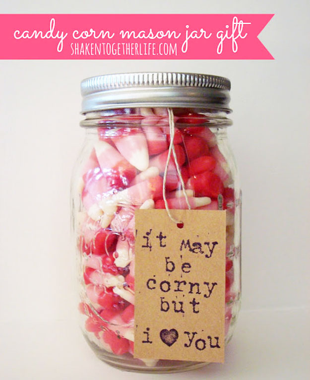 Mason Jar Valentine Gifts and Crafts   DIY Ideas for Valentines Day for Cute Gift Giving and Decor   Candy Corn Mason Jar Gift   #valentines