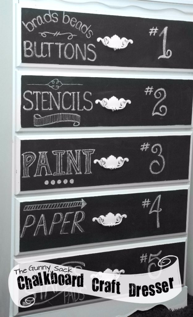 DIY Chalkboard Paint Ideas for Furniture Projects, Home Decor, Kitchen, Bedroom, Signs and Crafts for Teens. | Chalkboard Art Dresser | http://diyjoy.com/diy-chalkboard-paint-ideas