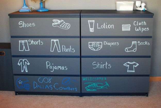 DIY Chalkboard Paint Ideas for Furniture Projects, Home Decor, Kitchen, Bedroom, Signs and Crafts for Teens. | Chalkboard Baby Dresser