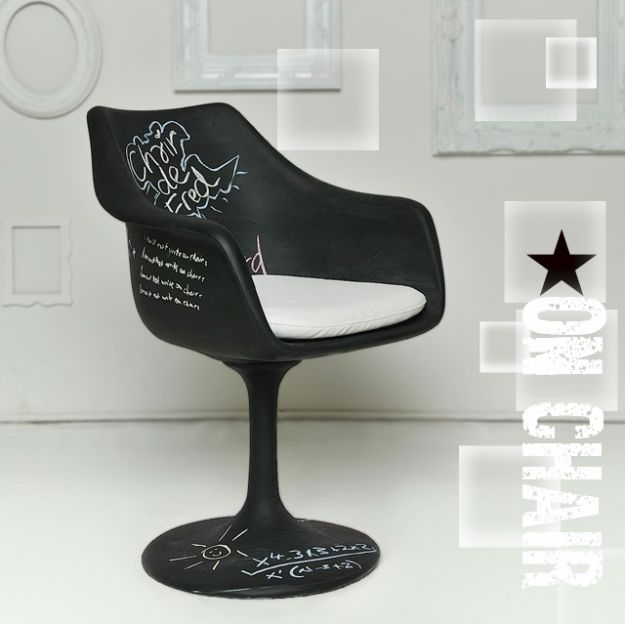 DIY Chalkboard Paint Ideas for Furniture Projects, Home Decor, Kitchen, Bedroom, Signs and Crafts for Teens. | Chalkboard Chair | http://diyjoy.com/diy-chalkboard-paint-ideas