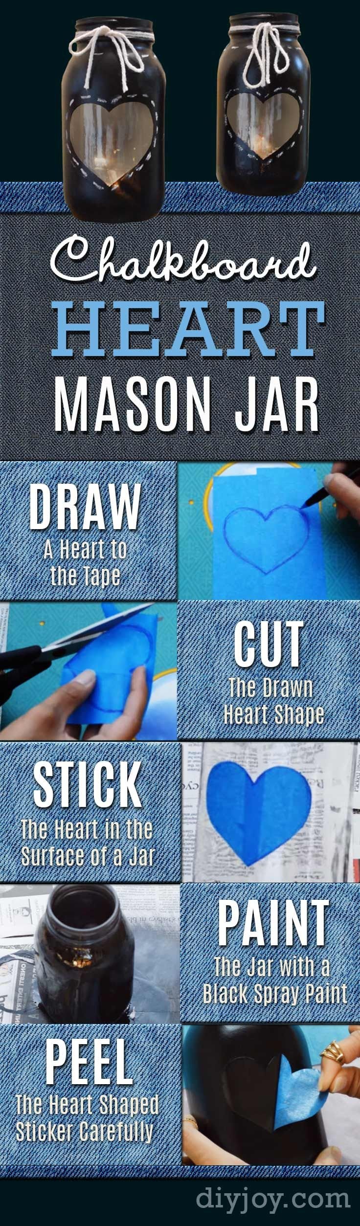 DIY Chalkboard Paint Ideas for Furniture Projects, Home Decor, Kitchen, Bedroom, Signs and Crafts for Teens. | Chalkboard Heart Candlelight Mason Jar