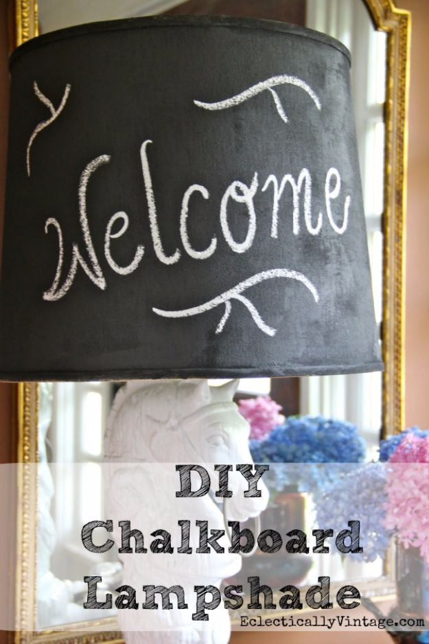 DIY Chalkboard Paint Ideas for Furniture Projects, Home Decor, Kitchen, Bedroom, Signs and Crafts for Teens. | Chalkboard Lamp Shade | http://diyjoy.com/diy-chalkboard-paint-ideas